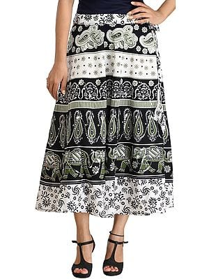 White and Black Printed Long Skirt from Pilkhuwa with Sequins