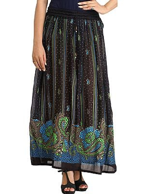 Black Long Elastic Skirt with Printed Paisleys and Bootis
