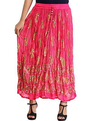 Crinkled Striped Long Skirt with Printed Paisleys and Sequins