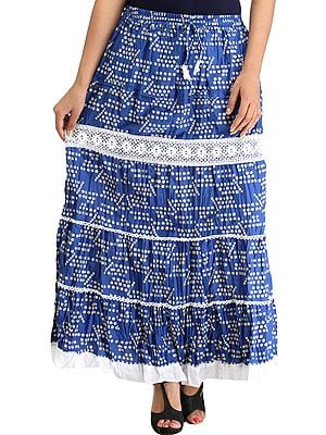 Nautical-Blue Long Skirt with Printed Bootis and Crochet