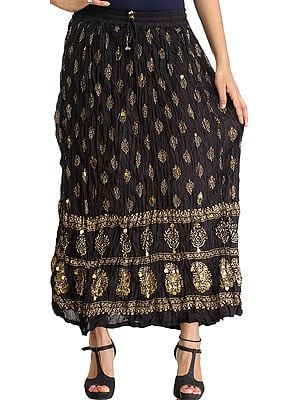 Jet-Black Casual Long Skirt with Golden-Print and Sequins