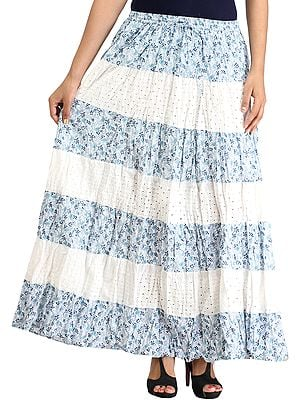 White and Blue Floral-Printed Long Skirt with Cut-work