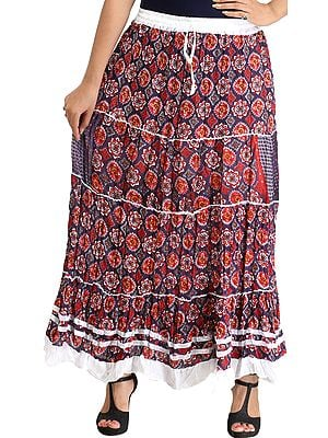 Dark-Blue and Red Floral Printed Long Skirt with Ribbons