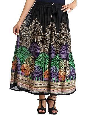 Caviar-Black Long Skirt with Printed Trees