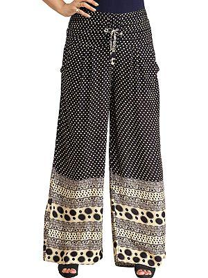Palazzo Pants with Printed Polka Dots and Side Pockets