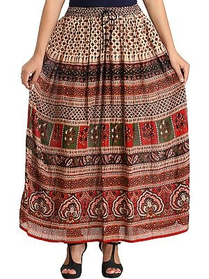 Cream and Maroon Elastic Long Skirt with Jamawar Print