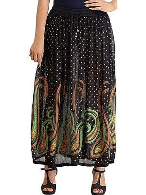 Jet-Black Long Elastic Skirt with Printed Paisleys and Bootis