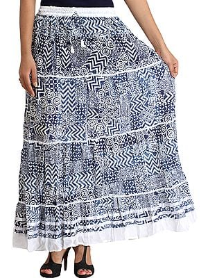 Blue and White Block-Printed Long Skirt with Ribbons