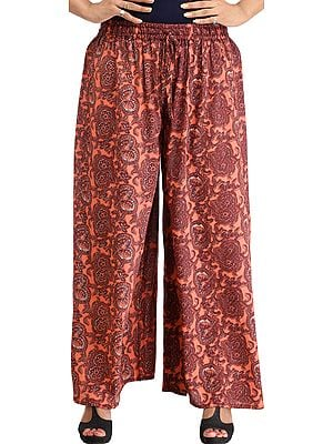 Burnt-Coral Casual Printed Palazzo Pants