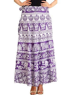 White and Purple Wrap-Around Long Skirt from Pilkhuwa with Printed Elephants and Camels