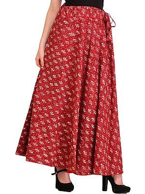 Dry-Rose Bagdoo Printed Long Skirt with Piping-work