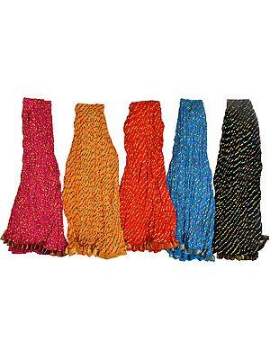 Lot of Five Jodhpuri Leheria Midi Skirts with Gota Border