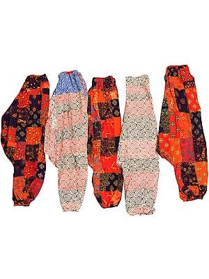 Lot of Five Printed Patchwork Harem Trousers