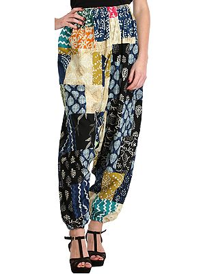 Multicolor Printed Patchwork Casual Harem Trousers