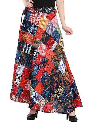 Wrap-Around Casual Long Skirt with Printed Patch-work