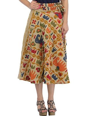 Wrap-Around Casual Stone-washed Midi Skirt with Printed Elephants