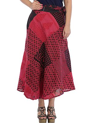 Wrap-Around Long Skirt with Printed Patch-work