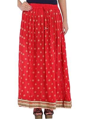 Long Skirt with Golden Printed Bootis and Gota Border