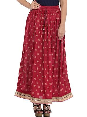 Long Skirt with Golden Printed Bootis and Gota Border