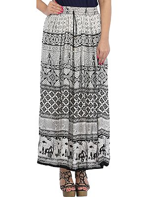 White and Black Long Skirt with Printed Elephants on Border