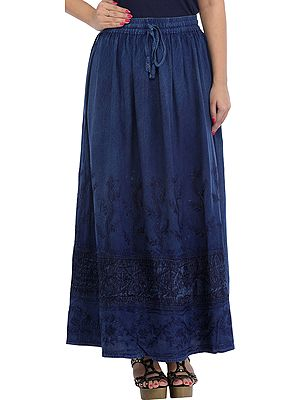 Stone-washed Long Skirt with Thread-Embroidery on Border