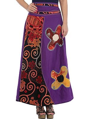 Royal-Purple Long Skirt with Floral-Applique and Kantha Stitch