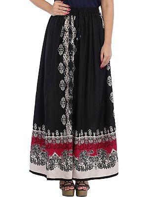 Jet-Black Printed Long Skirt