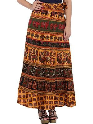 Marigold Wrap-Around Long Skirt from Pilkhuwa with Printed Elephants