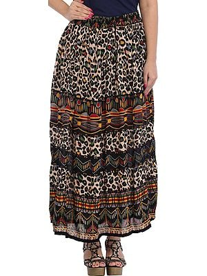 Multicolored Long Skirt with Printed Leopard-Spots