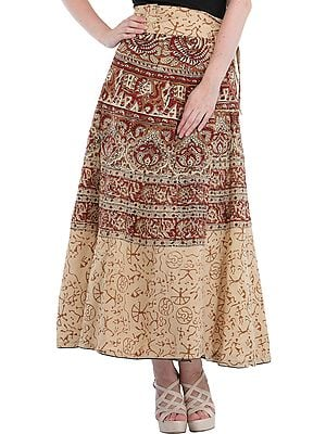 Antique-White Block-Printed Wrap-Around Maxi Skirt with Piping on Hem