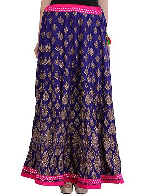 Long Ghagra Skirt from Jodhpur with Golden Printed Bootis and Mirrors