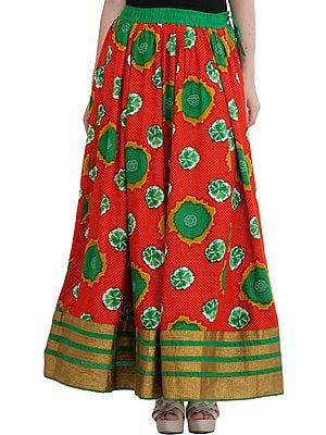 Printed Long Skirt from Jodhpur with Golden Border