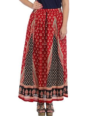 Tango-Red Long Skirt with Printed Bootis