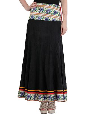 Long Skirt from Jodhpur with Rose Border and Straight Stitch