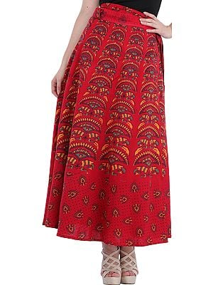Wrap-Around Printed Long Skirt from Pilkhuwa