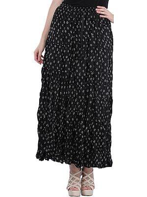 Phantom-Black Elastic Long Skirt with Printed Bootis All-Over
