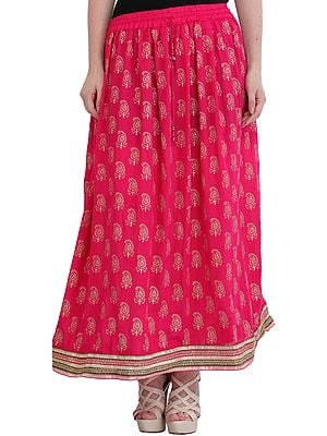 Magenta Long Skirt with Golden Printed Paisleys and Gota Border