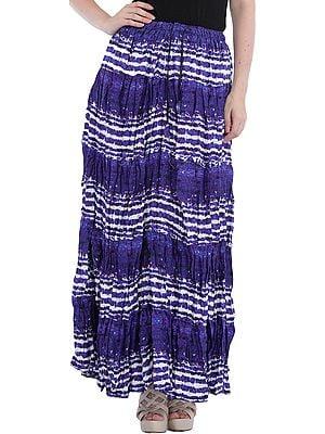 Spectrum-Blue Printed Elastic Long Skirt