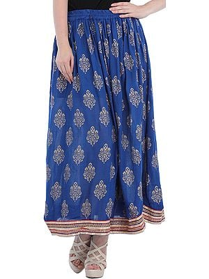 Long Skirt with Printed Large Bootis and Gota Border