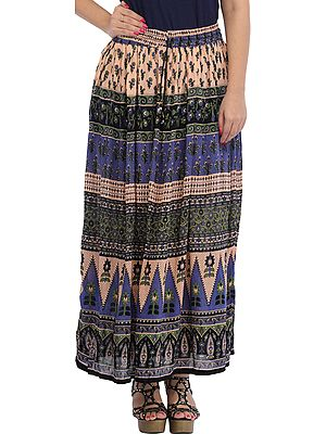 Cream and Blue Elastic Long Skirt with Floral Print