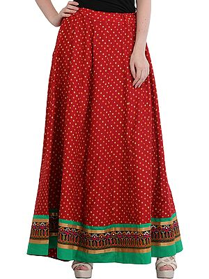 Long Skirt from Jodhpur with Bandhani Print and Embroidered Patch Border