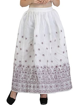 White Long Lucknowi Chikan Hand-Embroidered Skirt