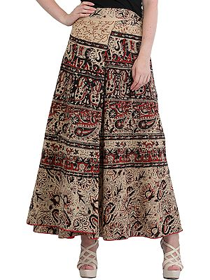 Shifting-Sand Wrap-Around Printed Long Skirt from Pilkhuwa with Piping