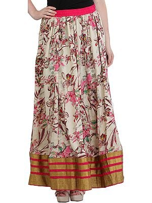 Cream and Pink Floral-Printed Long Skirt from Jodhpur with Wide Golden Border