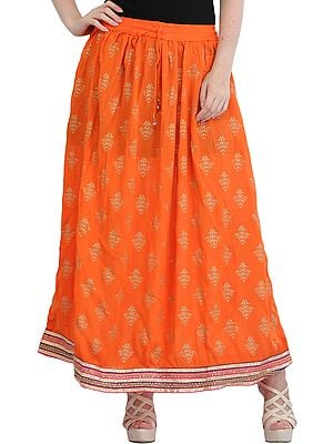Printed Long Skirt with Golden Bootis and Patch Border