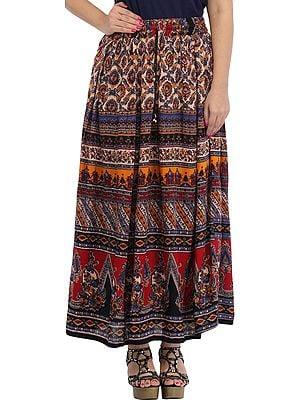 Multicolored Printed Elastic Long Skirt