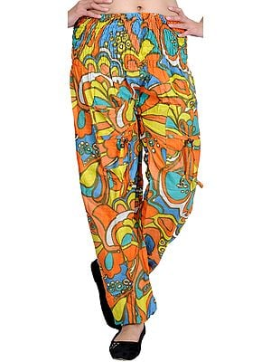 Tri-Color Printed Casual Trousers with Front Pockets