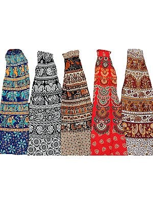 Lot of Five Block-Printed Long Skirts from Pilkhuwa