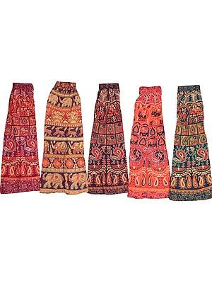 Lot of Five Midi Skirts from Pilkhuwa with Printed Animals