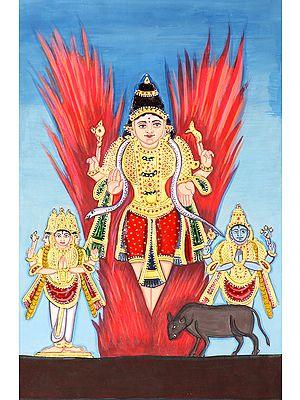 Shiva Emerged from Jyoti (Flanked by Vishnu and Brahma)
